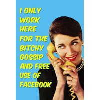 I Only Work Here For The Bitchy Gossip Rude Fridge Magnet