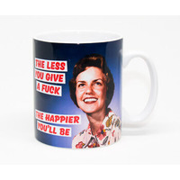 The Less You Give A Fuck The Happier You'll Be Rude Mug